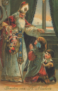Saint Nicholas Blessing the Children, early 20th century Christmas card.